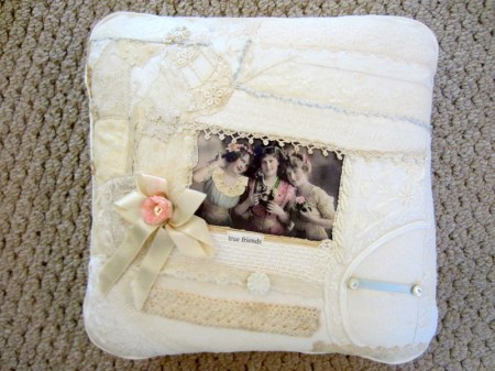 True Friends Lace Collage Pillow