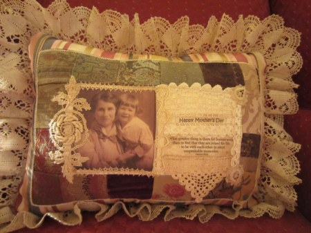 Happy Mother's Day Patchwork and Vintage Lace Pillow