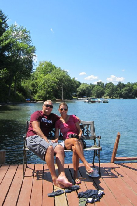 Son Todd and wife Julie on Lake Oswego