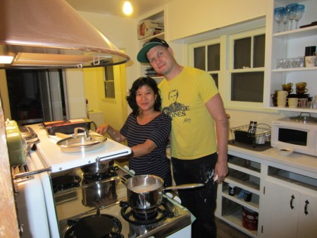 Troy and Michelle in their in process Renovated Kitchen