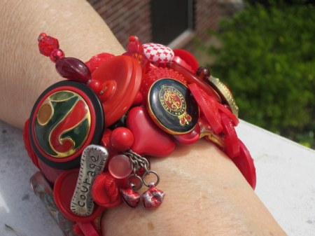 Red Button Cuff Bracelet